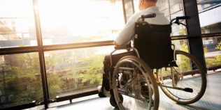 Senior Man in Wheelchair in nursing homes